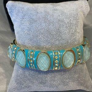 Enamel and Crystal Bangle Bracelet